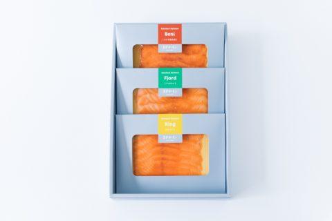 スモークサーモンギフト 3種のサーモンが楽しめます。お家時間におすすめ